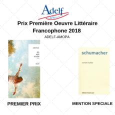 Le Prix Première Oeuvre Littéraire Francophone ADELF AMOPA